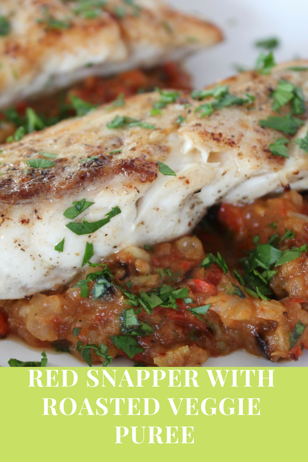 red snapper with roasted veggie puree