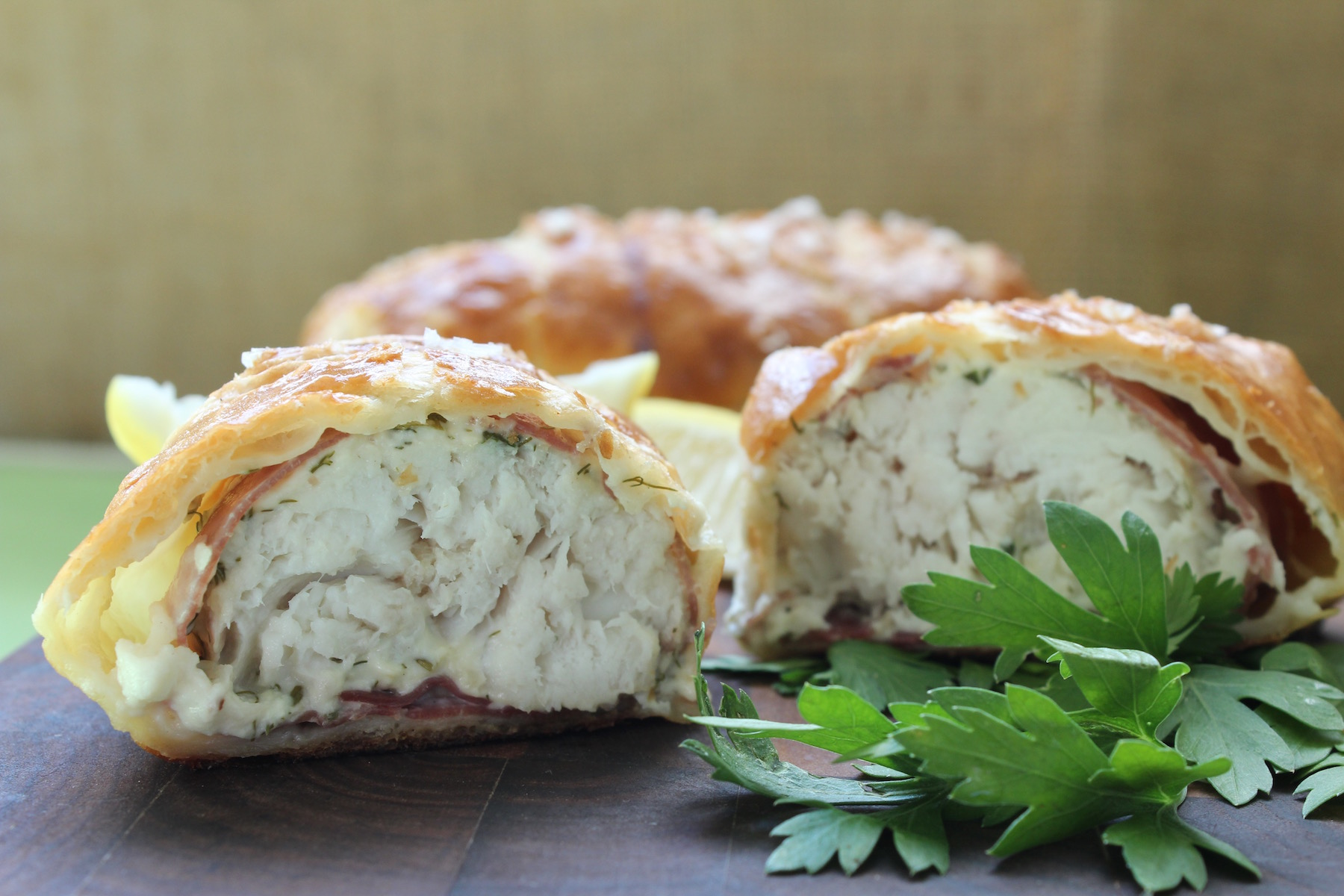 Fish wrapped in pastry