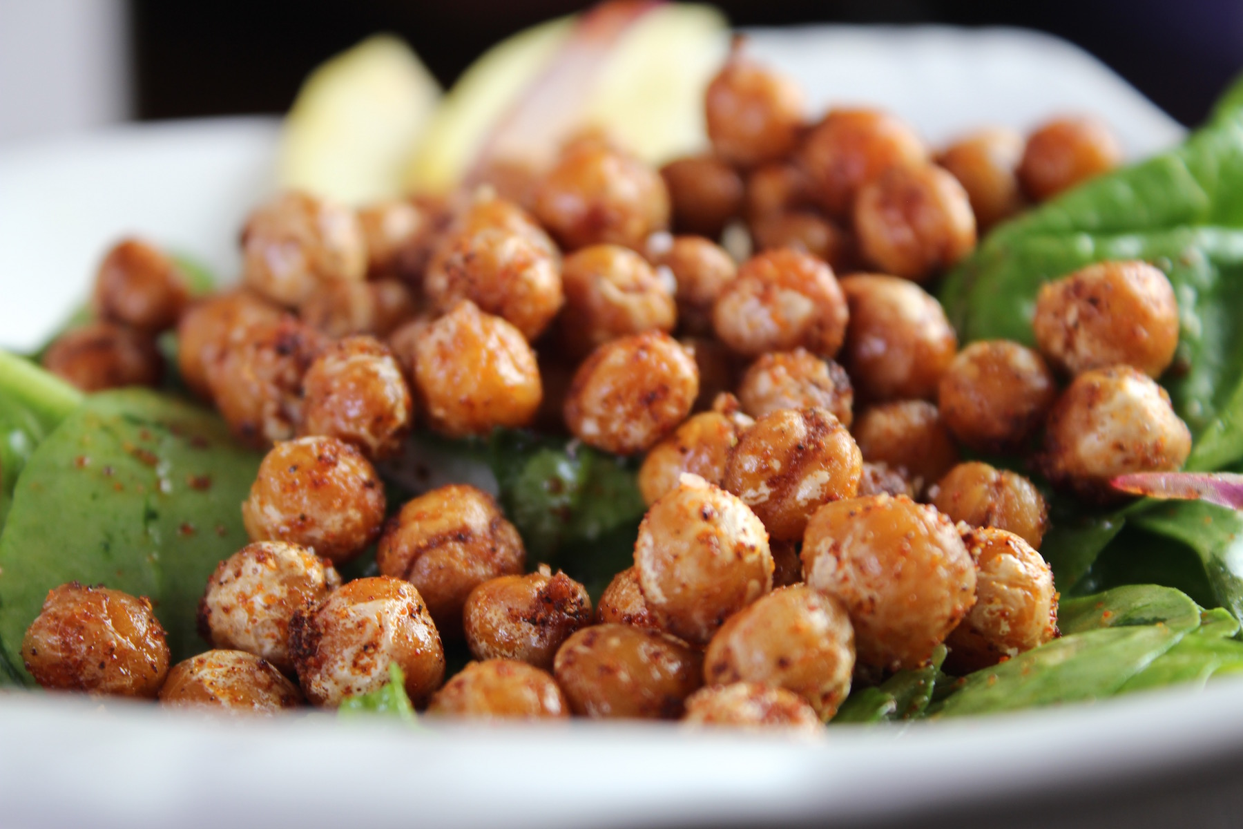 crispy chickpeas with spinach