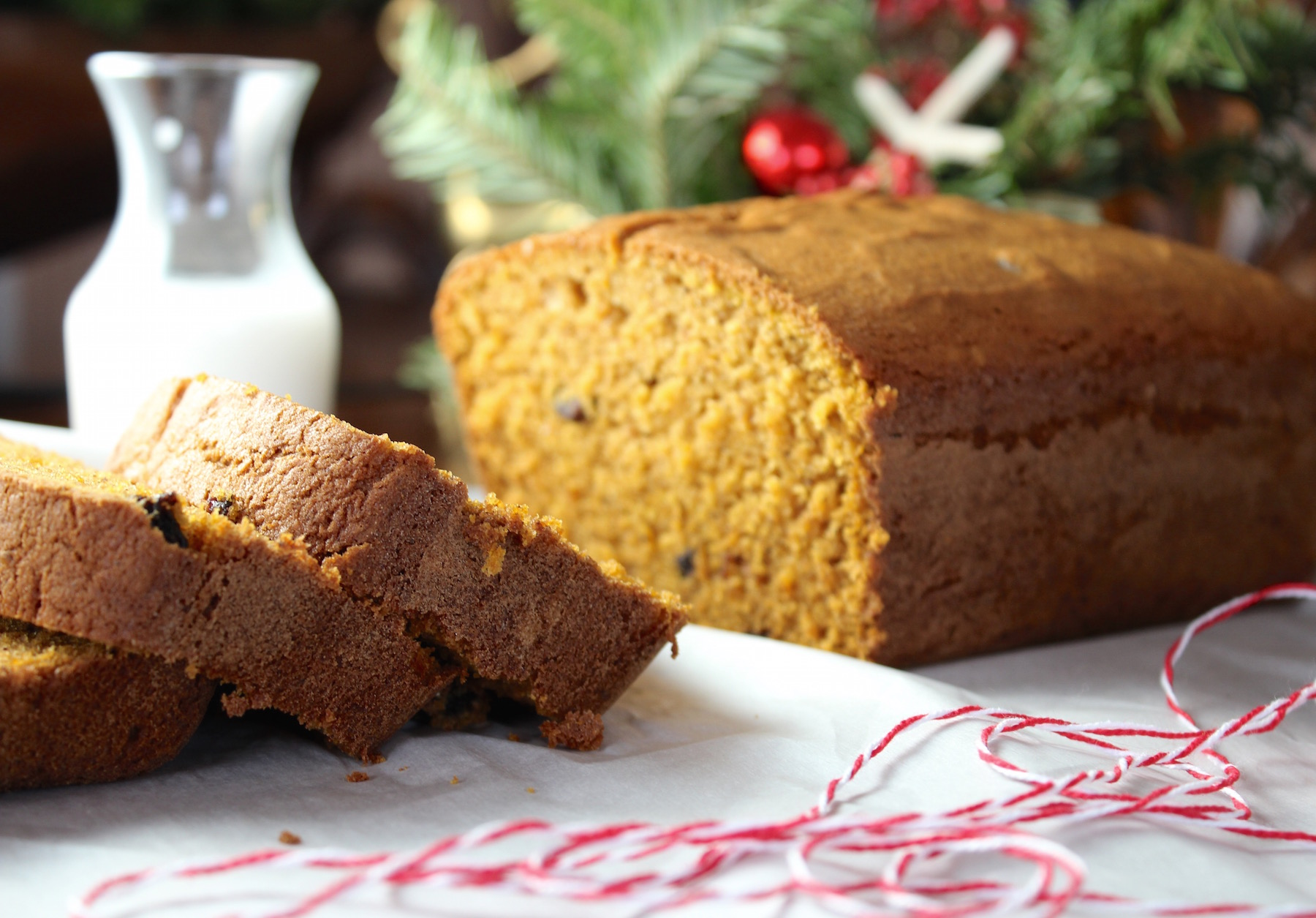 pumpkin bread with twine