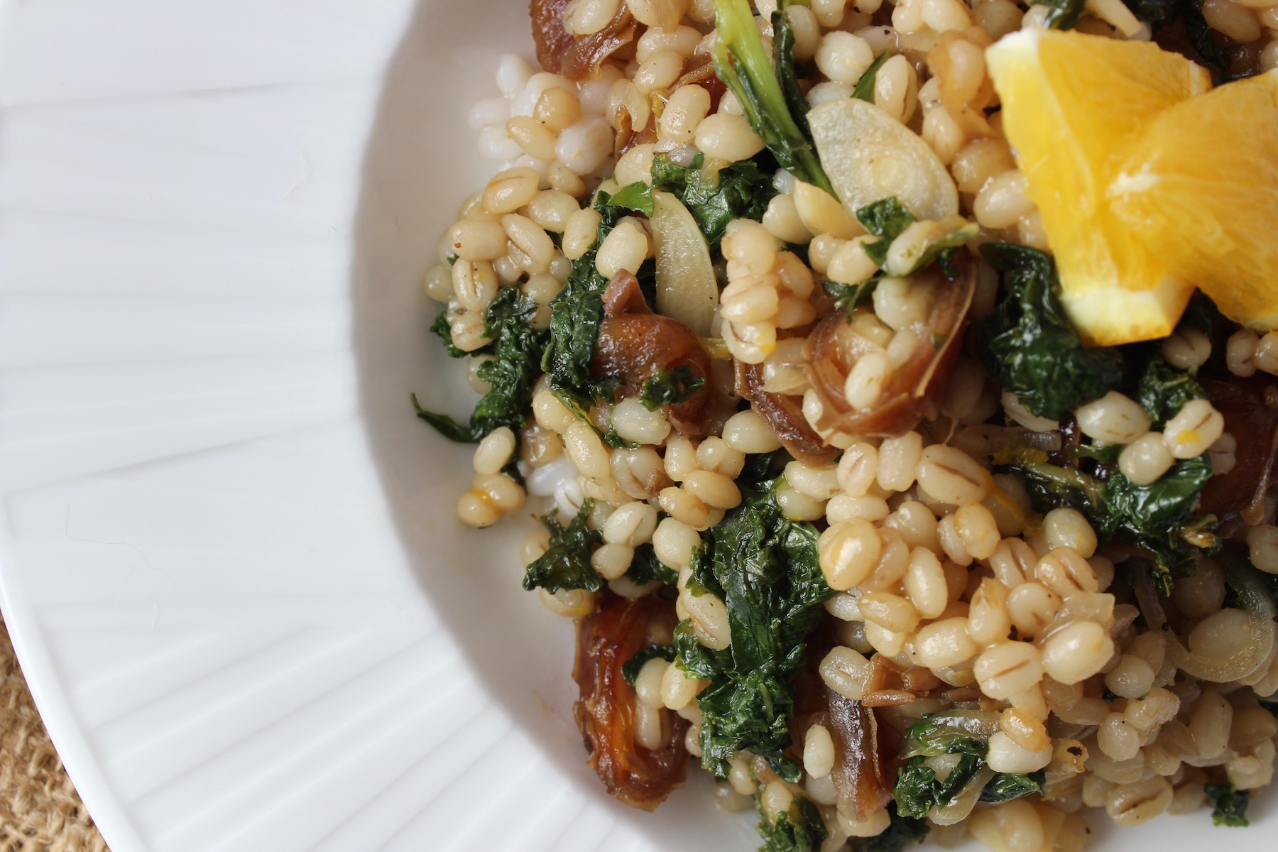 barley kale date warm salad