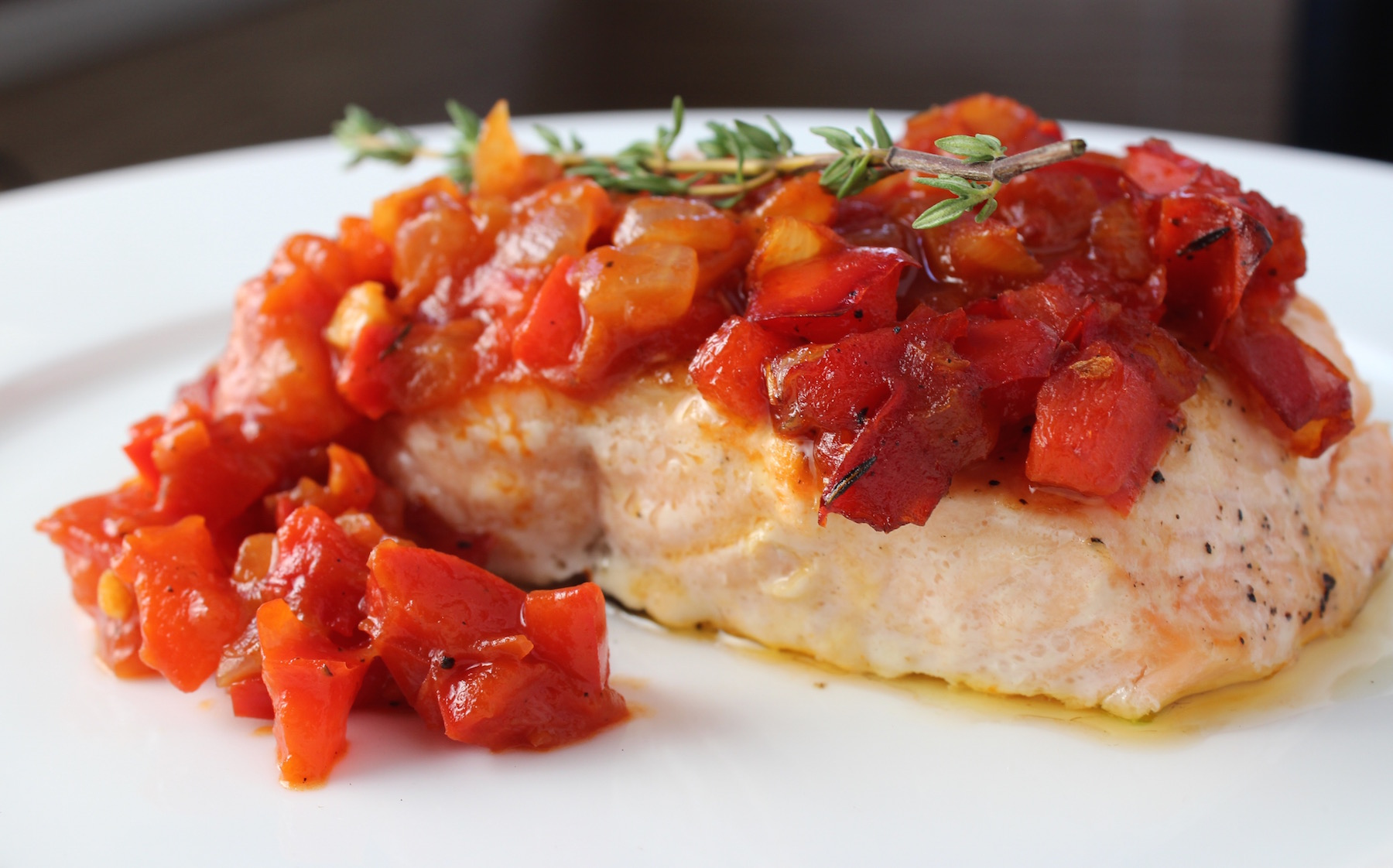Salmon with Red Pepper Tomato Relish