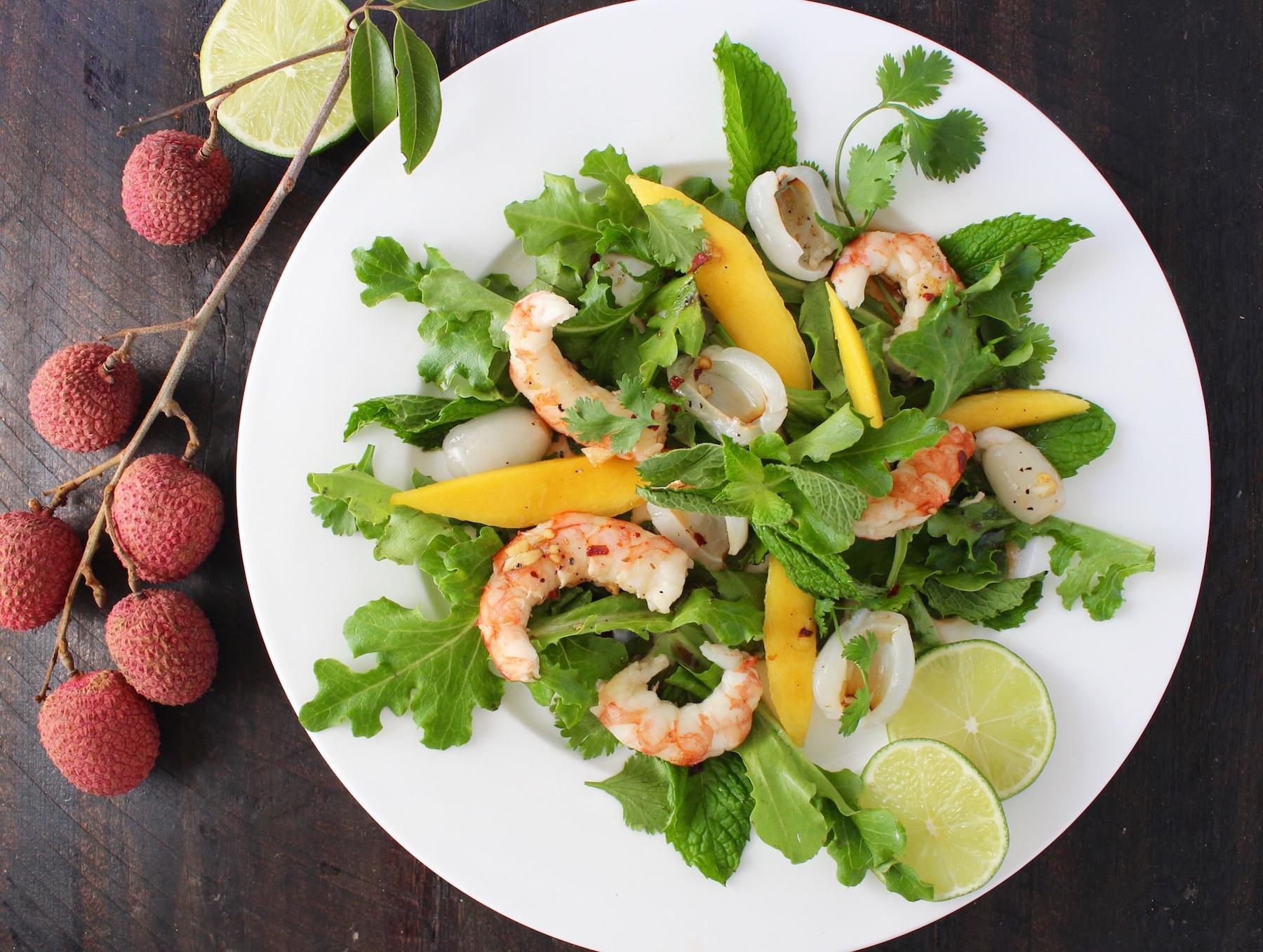 lychee mango shrimp salad