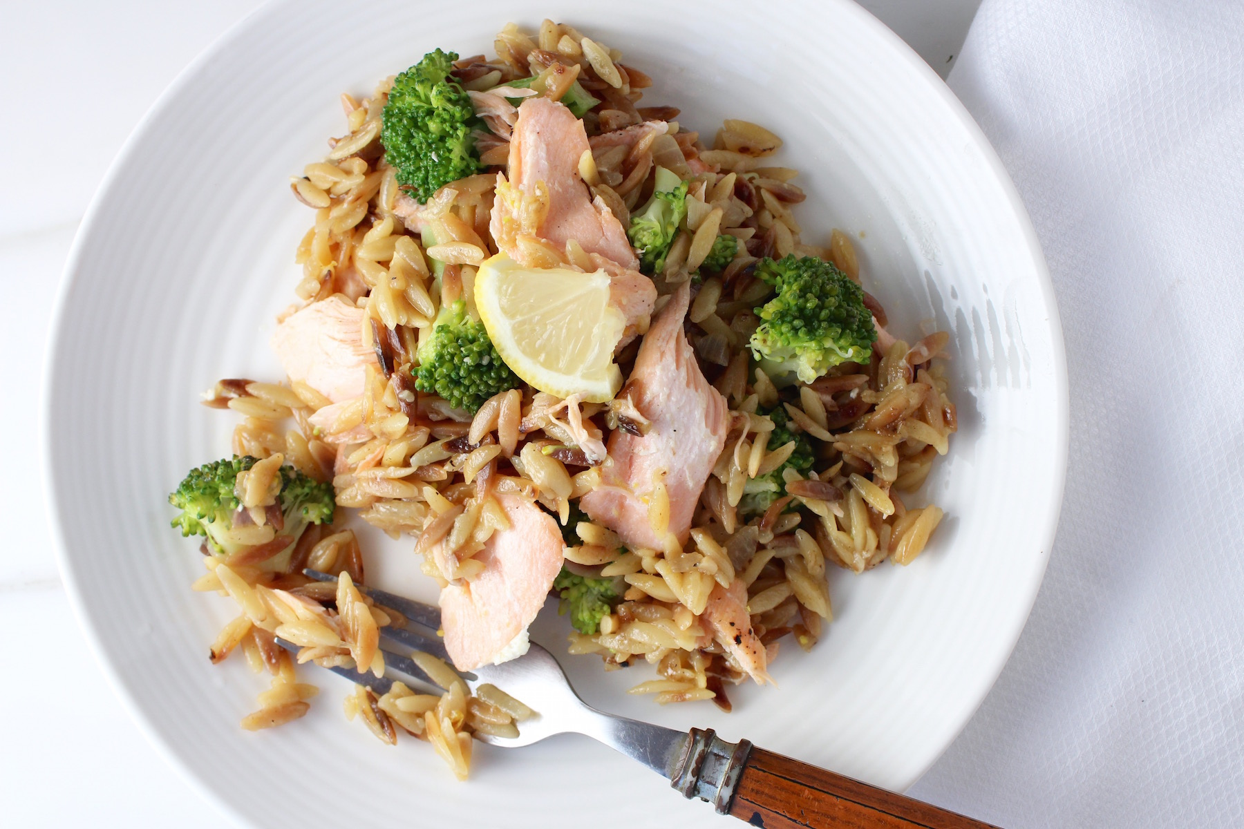 Orzo with Broccoli and Salmon