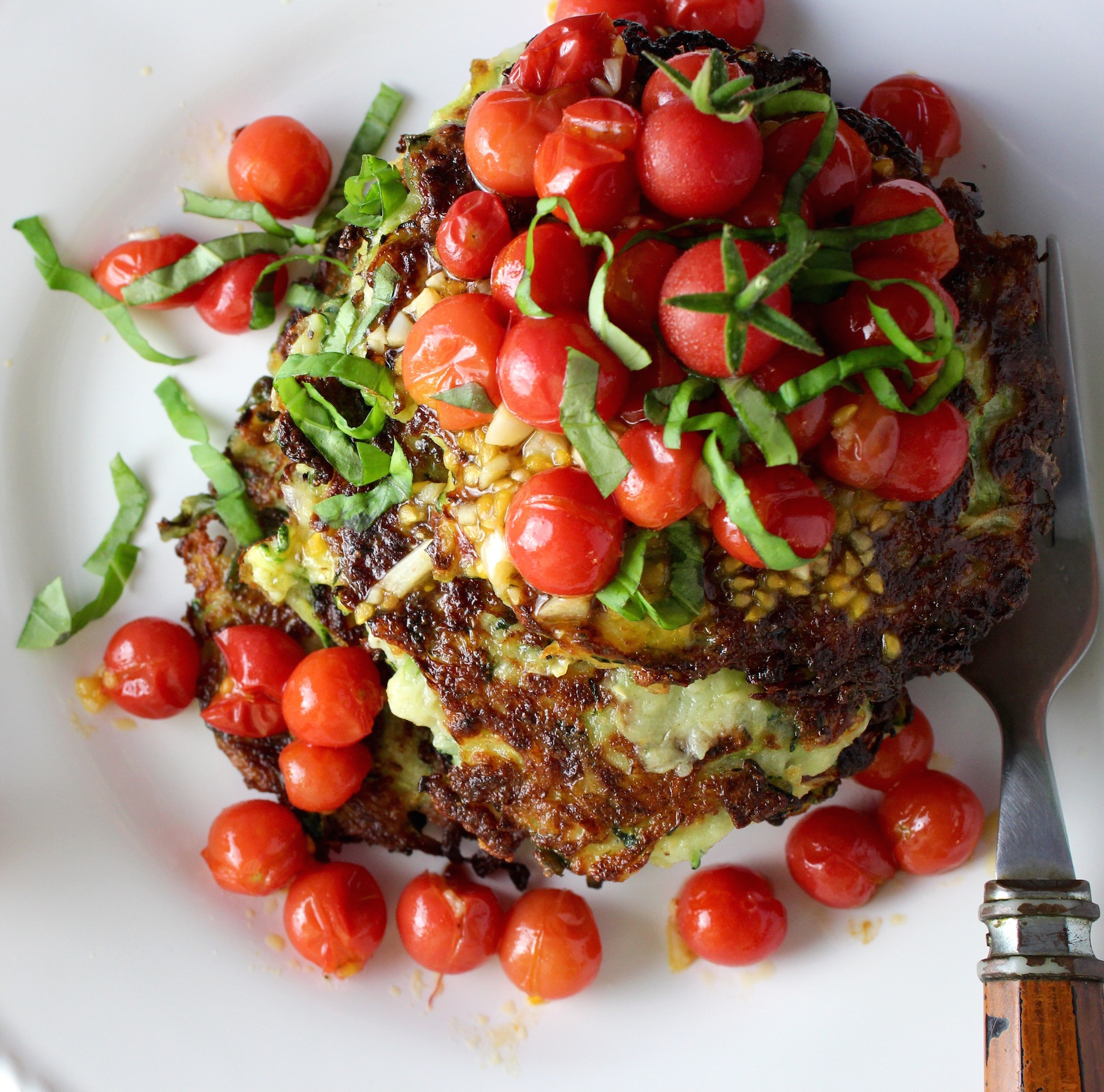 Zucchini Fritters with Tomatoes and Basil