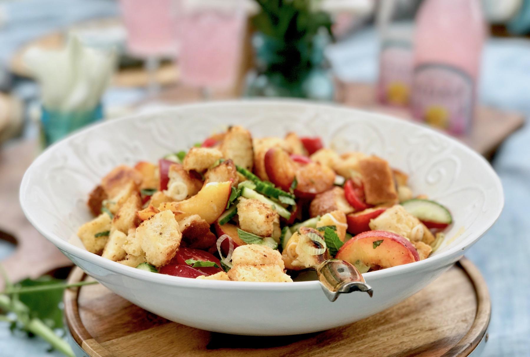 Peach Cucumber Mint Panzanella