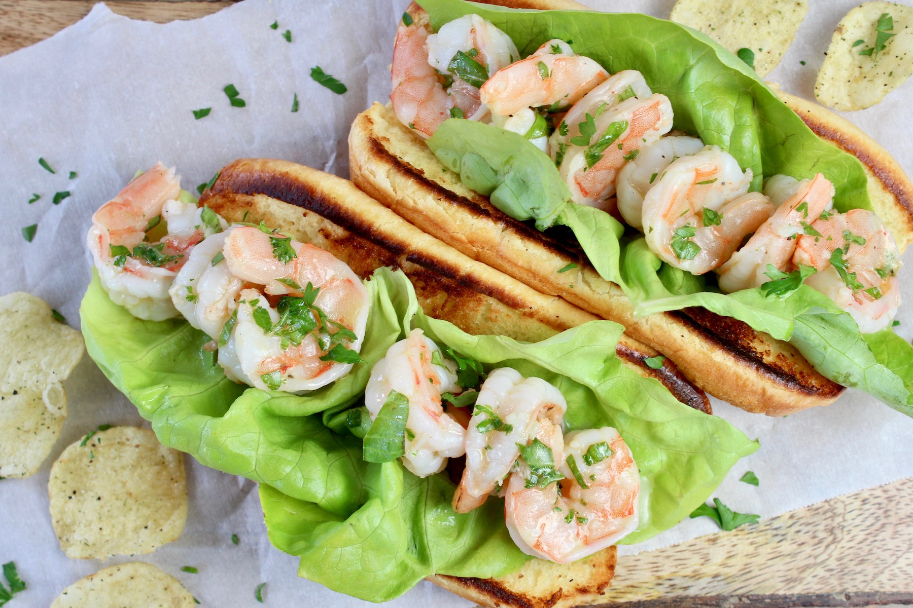 Shrimp with basil and lime